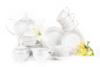 SCANIA Serwis herbaciany polska porcelana 15 elementów biały / platynowy wzór dla 6 os. Platin - zdjęcie 3