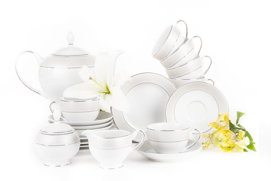 SCANIA Serwis herbaciany polska porcelana 15 elementów biały / platynowy wzór dla 6 os. Platin - zdjęcie 2