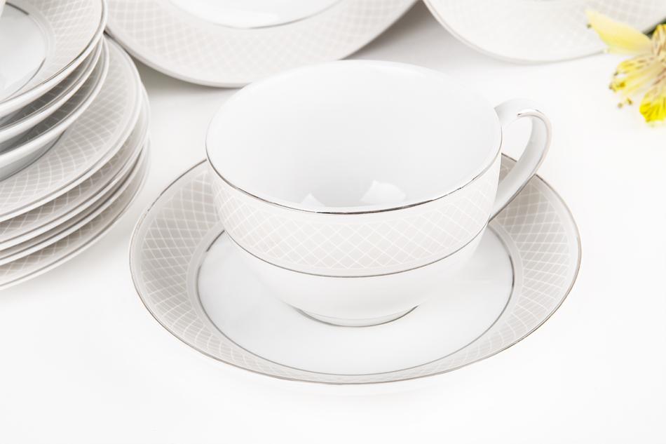 SCANIA Serwis herbaciany polska porcelana 15 elementów biały / platynowy wzór dla 6 os. Platin - zdjęcie 5