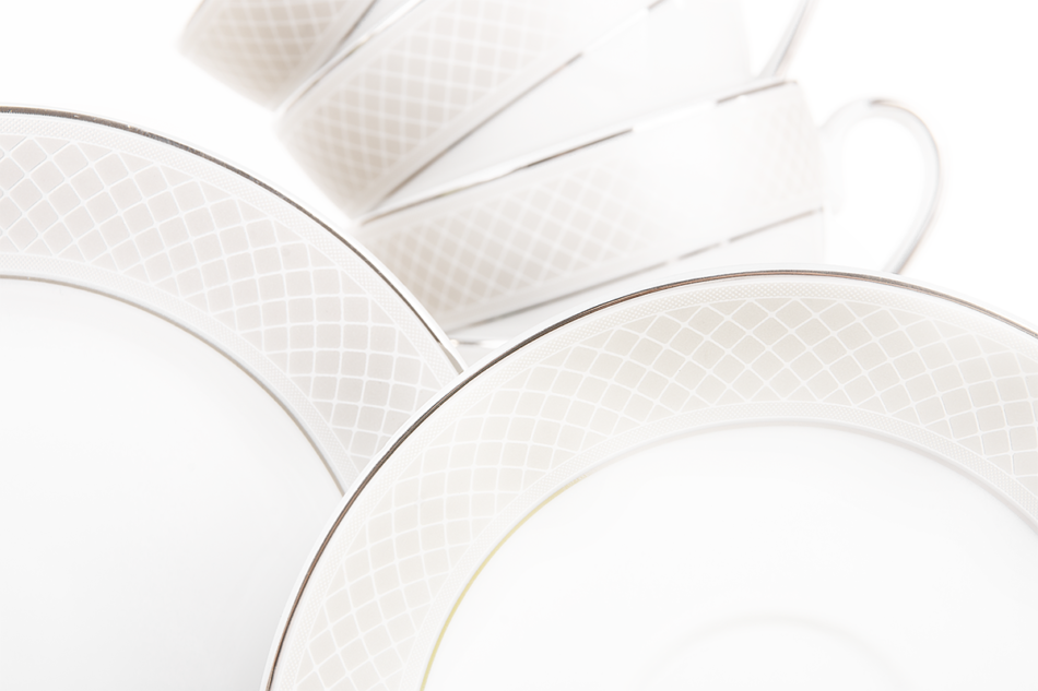 SCANIA Serwis herbaciany polska porcelana 15 elementów biały / platynowy wzór dla 6 os. Platin - zdjęcie 4