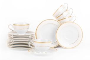 MARTHA GOLD, https://konsimo.pl/kolekcja/martha-gold/ Serwis herbaciany polska porcelana 6 os. 12 elementów biały / złoty wzór Gold - zdjęcie