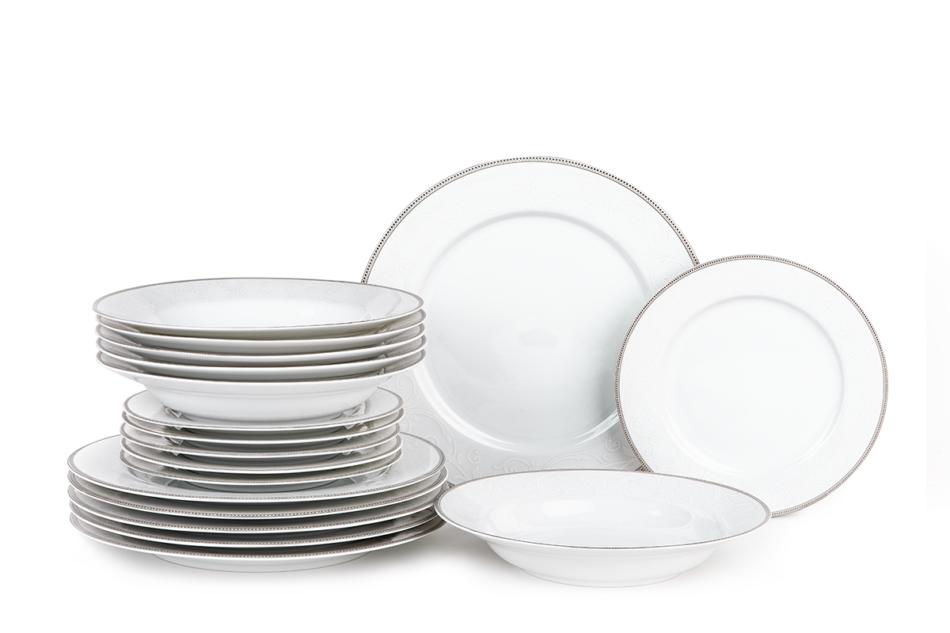 DIAMENT PLATIN Serwis obiadowy polska porcelana 6 os. Biały / platynowy wzór Platin - zdjęcie 0