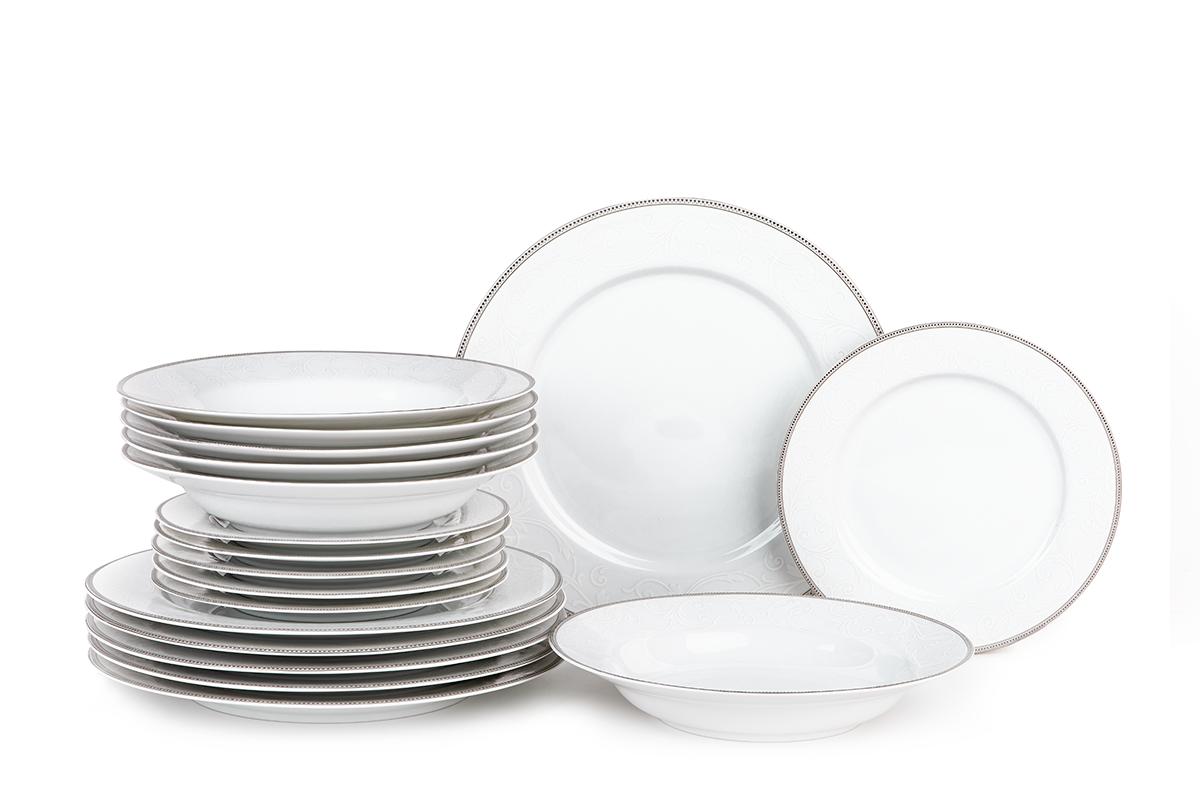 Serwis obiadowy polska porcelana 6 os. Biały / platynowy wzór
