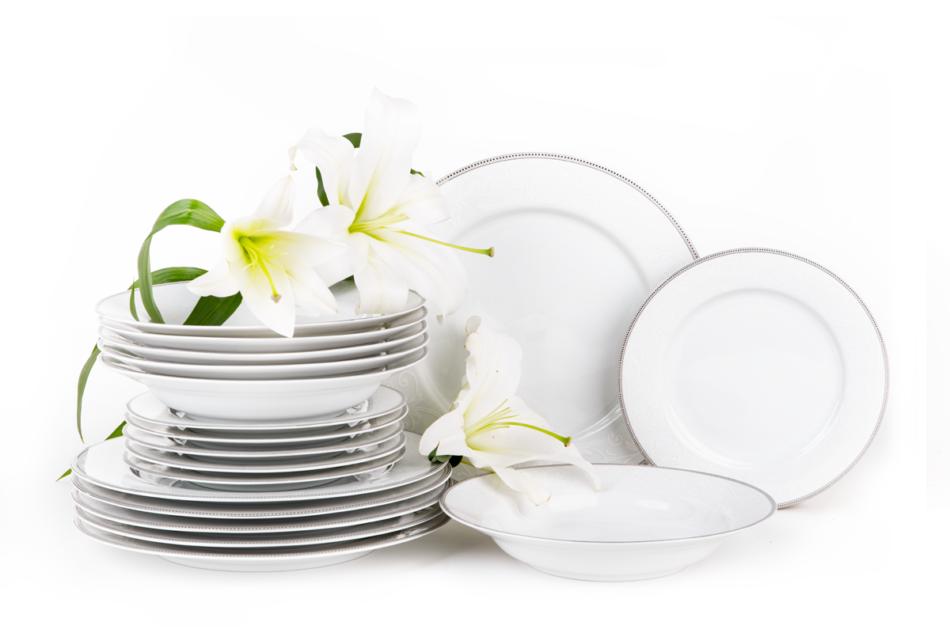 DIAMENT PLATIN Serwis obiadowy polska porcelana 6 os. Biały / platynowy wzór Platin - zdjęcie 2
