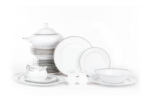 DIAMENT PLATIN, https://konsimo.pl/kolekcja/diament-platin/ Serwis obiadowy polska porcelana 6 os. 26 elementów Biały / platynowy wzór Platin - zdjęcie