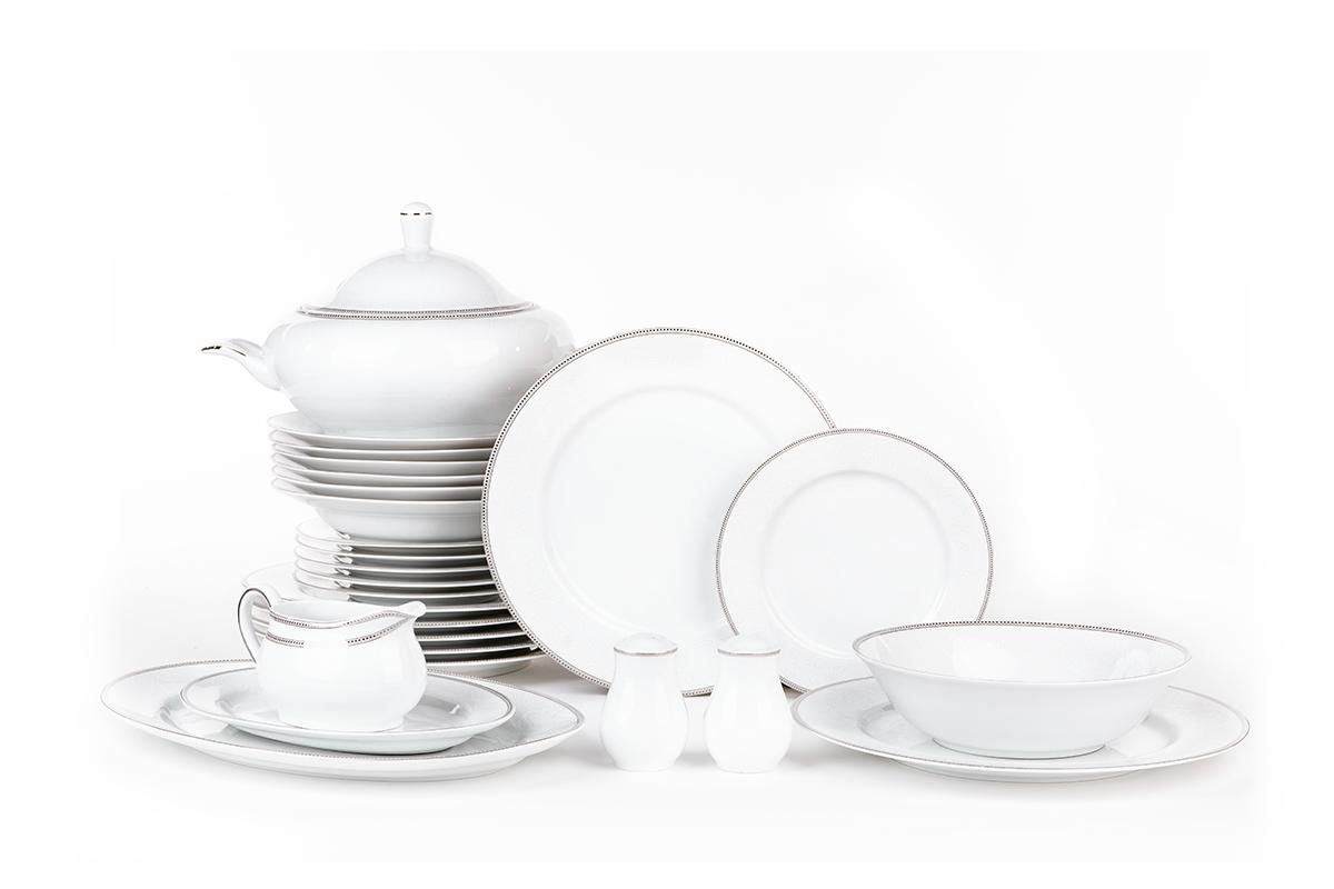 Serwis obiadowy polska porcelana 6 os. 26 elementów Biały / platynowy wzór