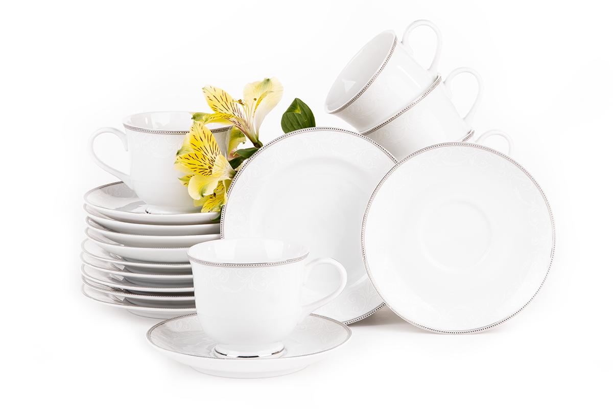 Serwis herbaciany polska porcelana 6 os. Biały / platynowy wzór