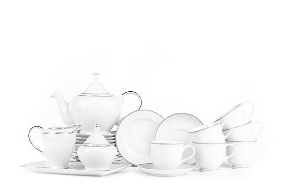 DIAMENT PLATIN Serwis herbaciany polska porcelana 6 os. 16 elementów Biały / platynowy wzór Platin - zdjęcie 0