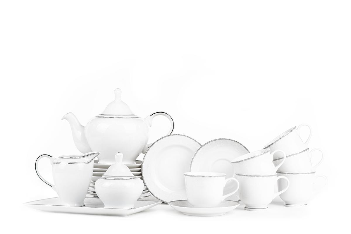 Serwis herbaciany polska porcelana 6 os. 16 elementów Biały / platynowy wzór