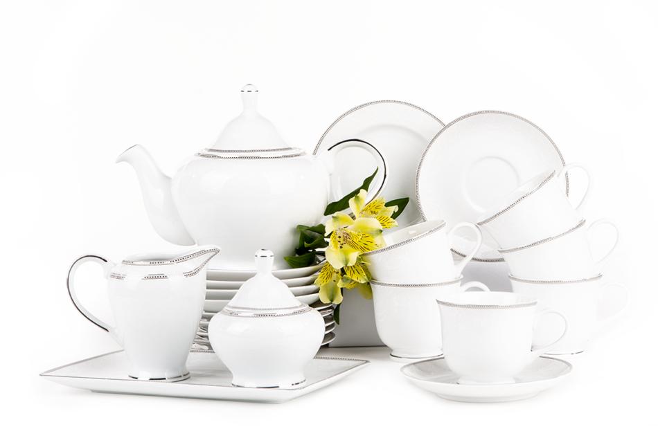 DIAMENT PLATIN Serwis herbaciany polska porcelana 6 os. 16 elementów Biały / platynowy wzór Platin - zdjęcie 2