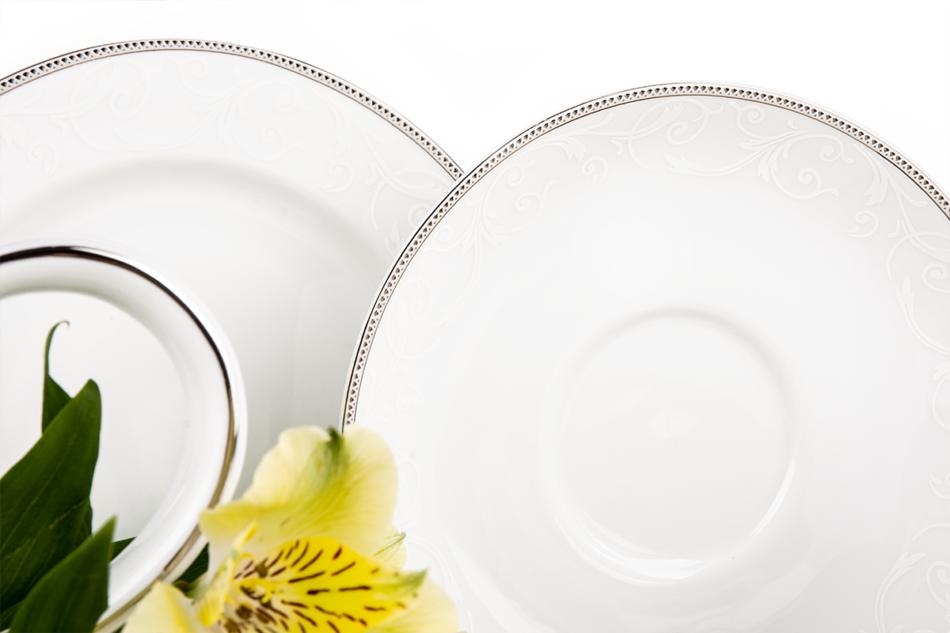 DIAMENT PLATIN Serwis herbaciany polska porcelana 6 os. 16 elementów Biały / platynowy wzór Platin - zdjęcie 3