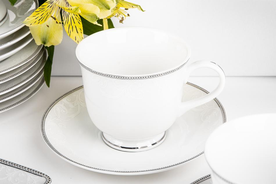 DIAMENT PLATIN Serwis herbaciany polska porcelana 6 os. 16 elementów Biały / platynowy wzór Platin - zdjęcie 4