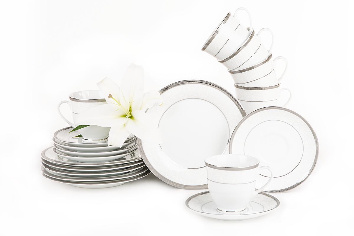 Serwis herbaciany polska porcelana 12 elementów biały / platynowy wzór dla 6 os.