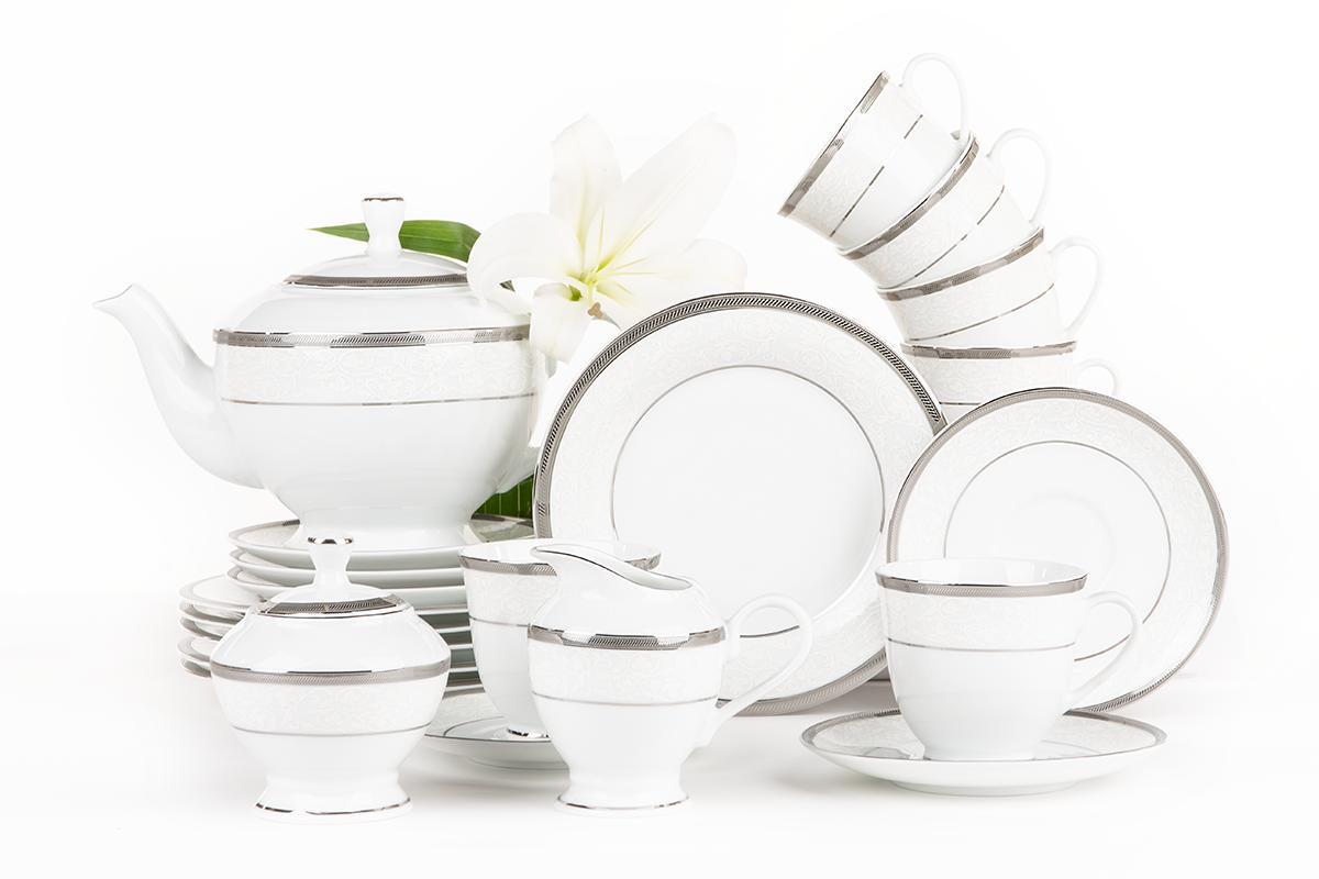 Serwis herbaciany polska porcelana 15 elementów biały / platynowy wzór dla 6 os.