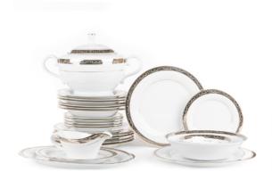 CONTE, https://konsimo.pl/kolekcja/conte/ Serwis obiadowy polska porcelana dla 6 osób biały / złoty wzór biały/srebrny/złoty - zdjęcie