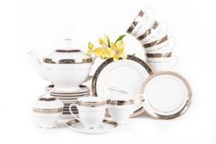 CONTE, https://konsimo.pl/kolekcja/conte/ Serwis herbaciany polska porcelana dla 6 osób biały / złoty wzór biały/srebrny/złoty - zdjęcie