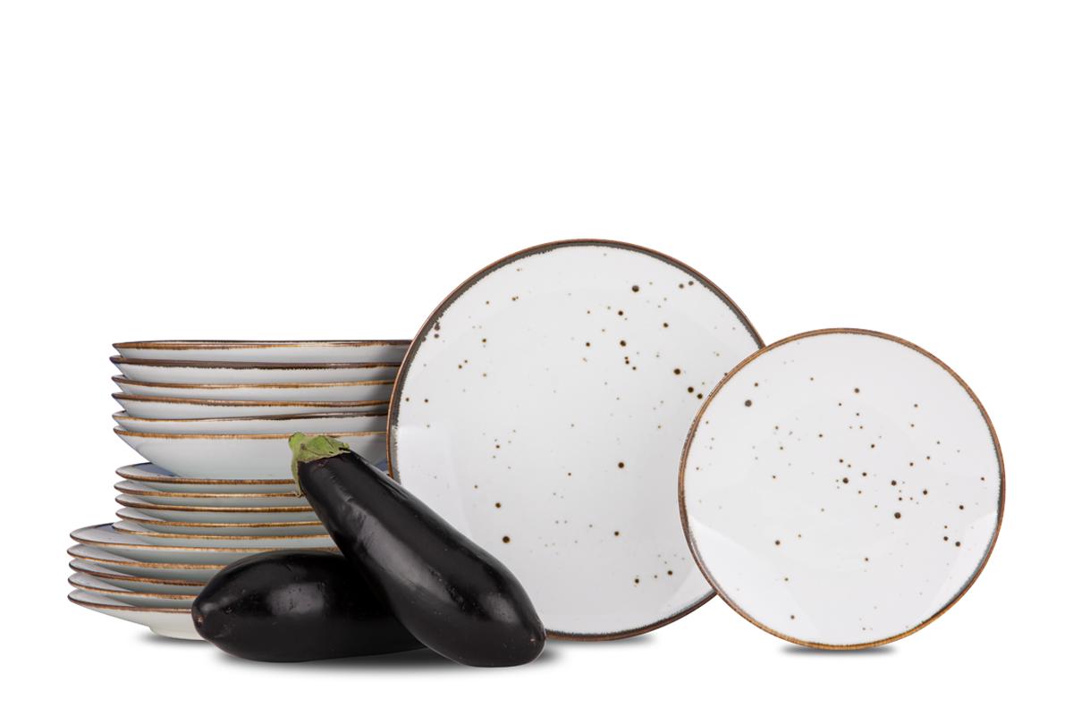 Serwis obiadowy polska porcelana Cottage White dla 6 os.
