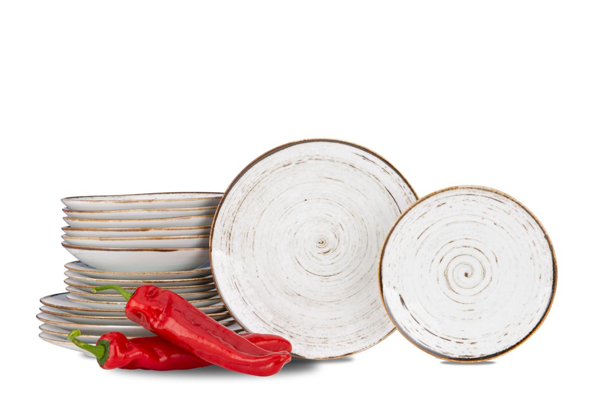 Serwis obiadowy polska porcelana Nostalgia White dla 6 os.