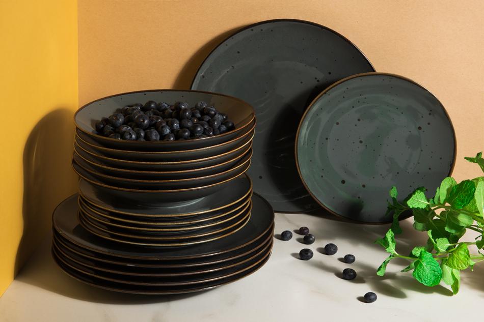 ALUMINA Serwis obiadowy polska porcelana Cottage Graphit dla 6 os. Cottage Graphit - zdjęcie 1