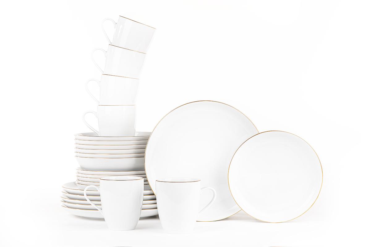Serwis obiadowy polska porcelana 6 os. 24 elementy Biały / złoty rant