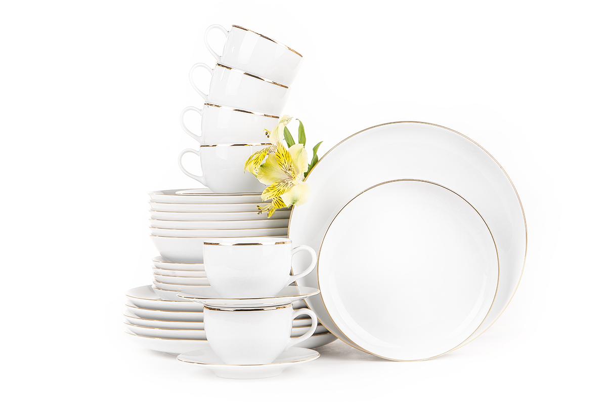 Serwis obiadowo-kawowy polska porcelana 6 os. Biały / złoty rant