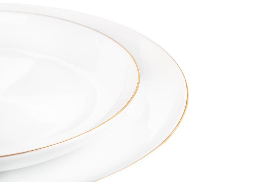 NORA ZŁOTA LINIA Serwis obiadowo-kawowy polska porcelana 6 os. Biały / złoty rant Złota Linia - zdjęcie 11