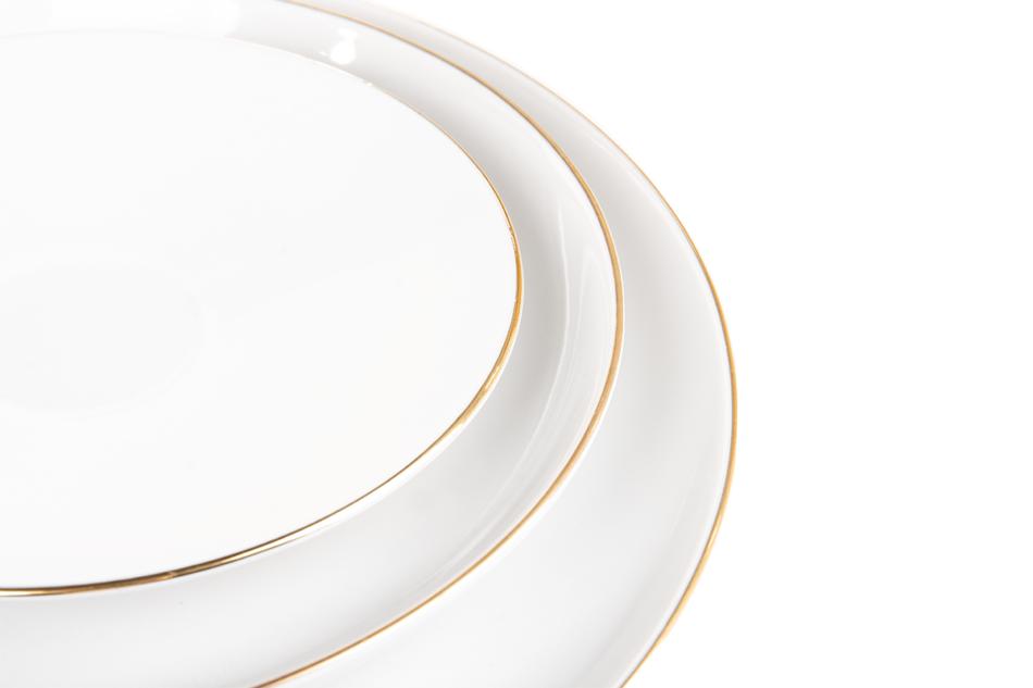 NORA ZŁOTA LINIA Serwis obiadowo-kawowy polska porcelana 6 os. Biały / złoty rant Złota Linia - zdjęcie 10