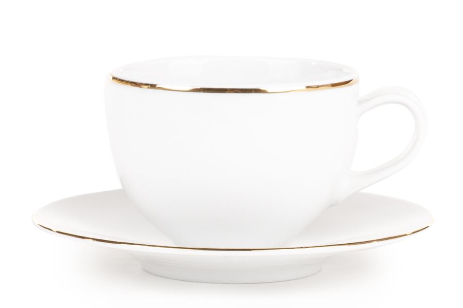 NORA ZŁOTA LINIA Serwis obiadowo-kawowy polska porcelana 6 os. Biały / złoty rant Złota Linia - zdjęcie 8
