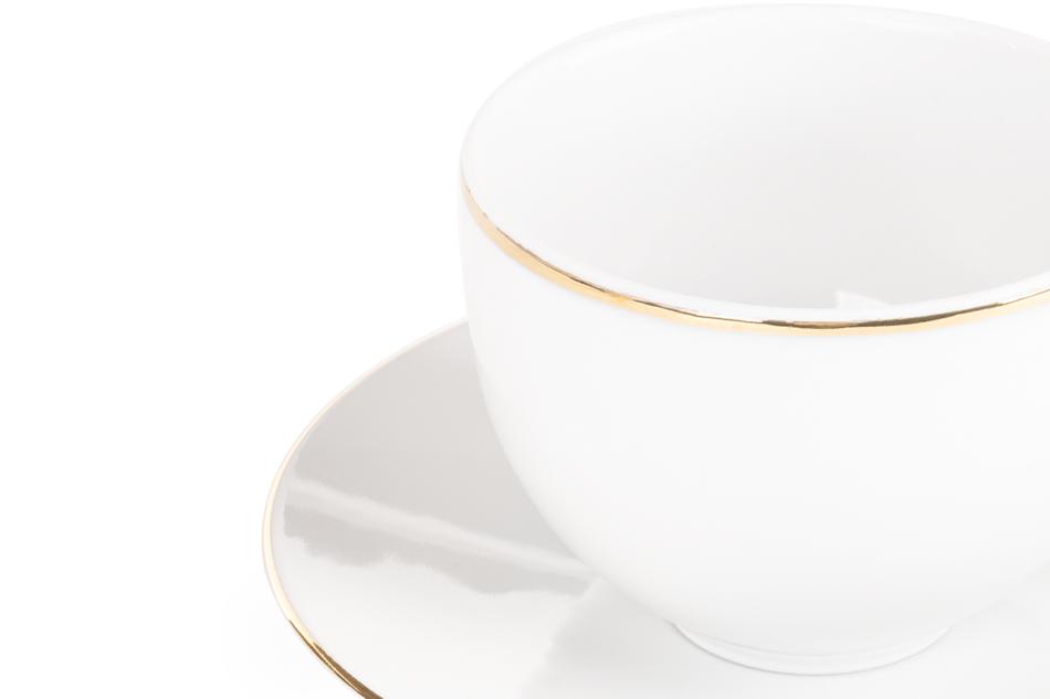 NORA ZŁOTA LINIA Serwis obiadowo-kawowy polska porcelana 6 os. Biały / złoty rant Złota Linia - zdjęcie 9