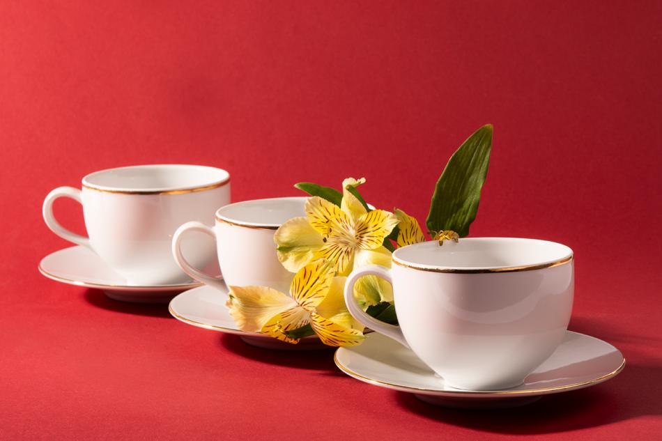 NORA ZŁOTA LINIA Serwis obiadowo-kawowy polska porcelana 6 os. Biały / złoty rant Złota Linia - zdjęcie 12