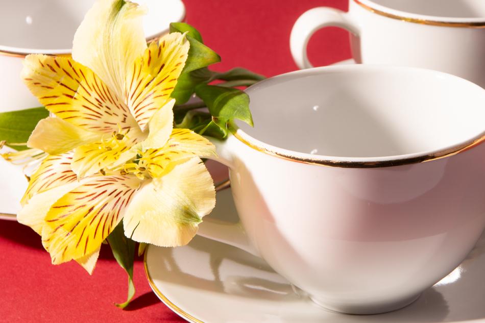 NORA ZŁOTA LINIA Serwis obiadowo-kawowy polska porcelana 6 os. Biały / złoty rant Złota Linia - zdjęcie 13