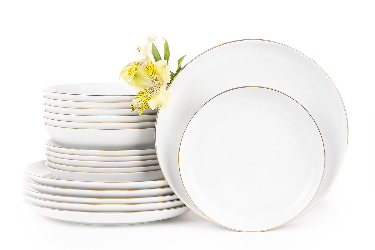 Serwis obiadowy polska porcelana 6 os. Biały / złoty rant