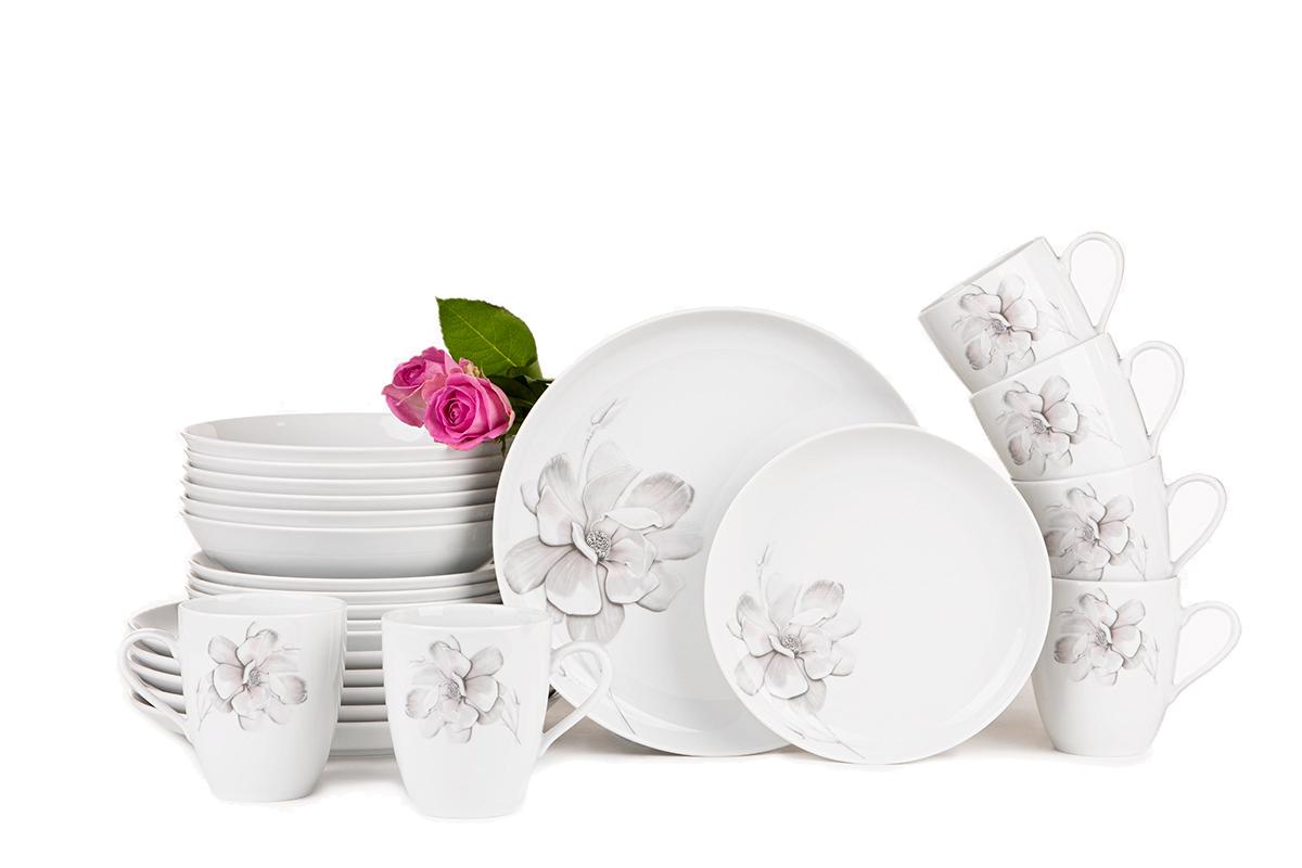 Serwis obiadowy polska porcelana 6 os. 24 elementy Biały / wzór magnolii