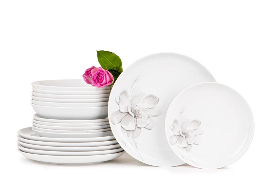 NORA MAGNOLIA Serwis obiadowy polska porcelana 6 os. Biały / wzór magnolii Magnolia - zdjęcie 0