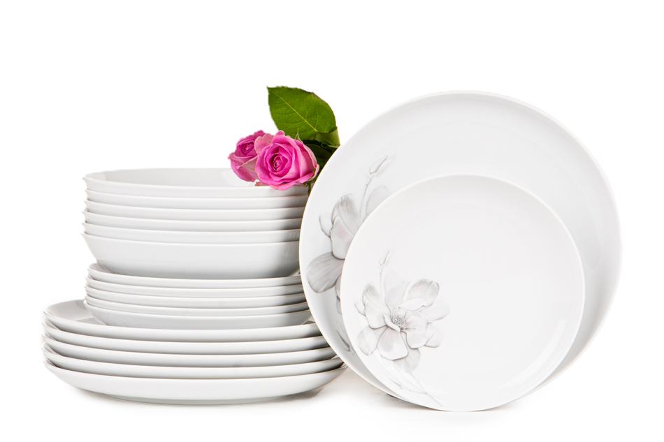 NORA MAGNOLIA Serwis obiadowy polska porcelana 6 os. Biały / wzór magnolii Magnolia - zdjęcie 2