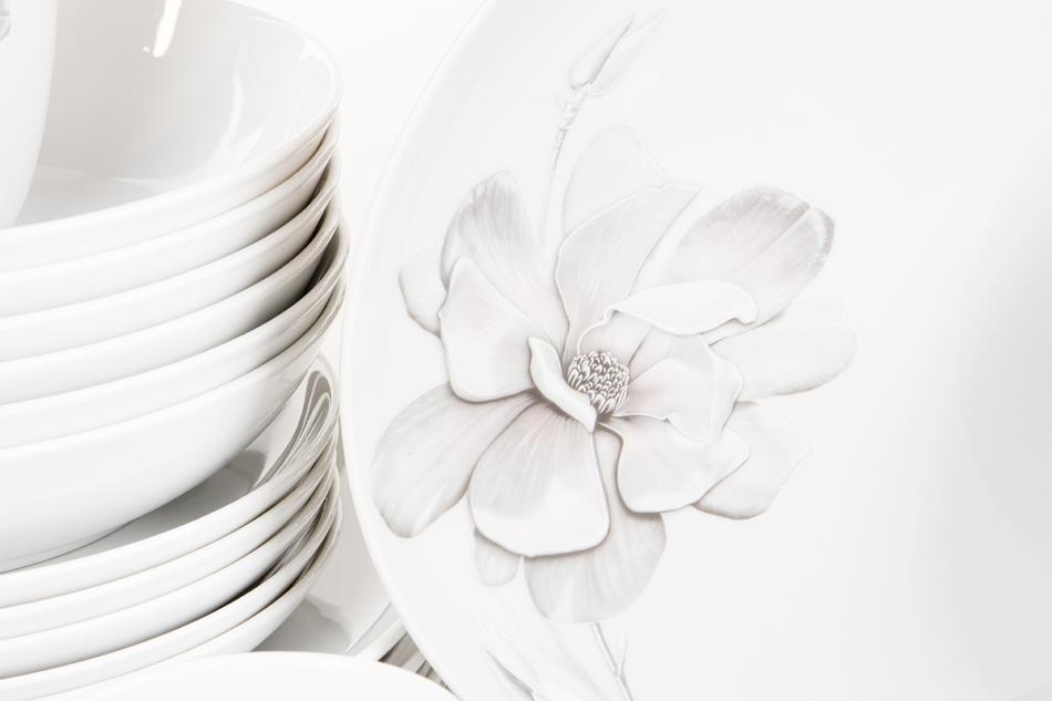 NORA MAGNOLIA Serwis obiadowy polska porcelana 6 os. Biały / wzór magnolii Magnolia - zdjęcie 7