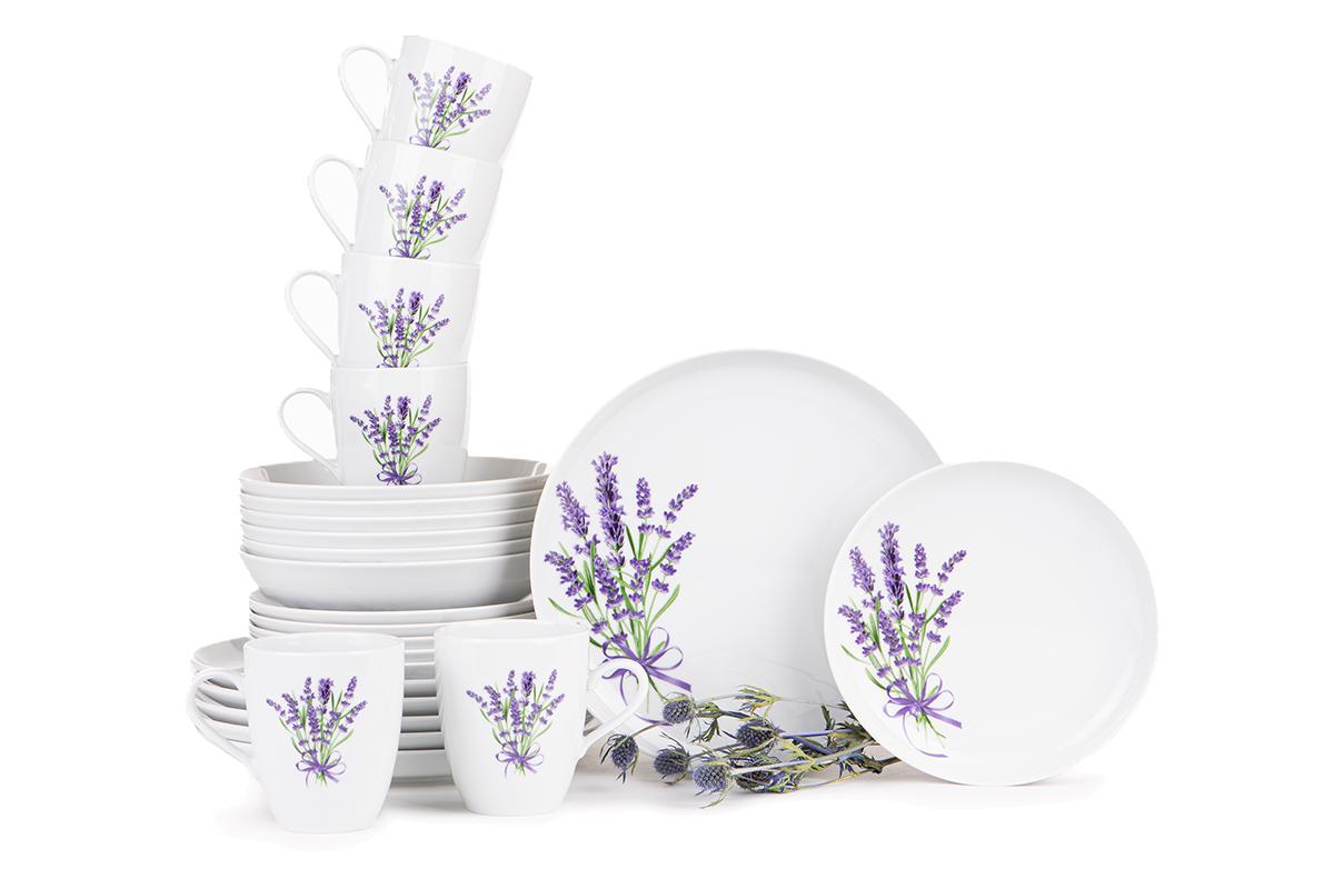 Serwis obiadowy polska porcelana 6 os. 24 elementy Biały / wzór lawendy
