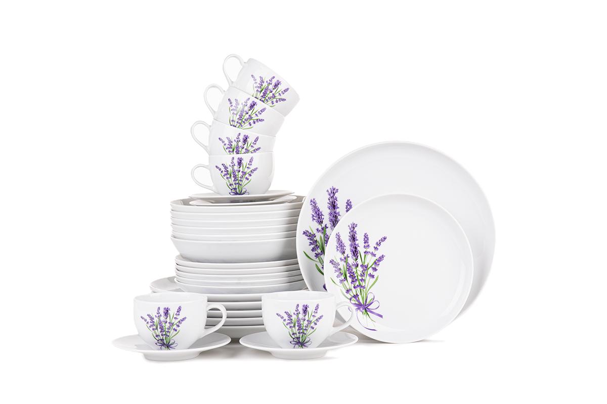Serwis obiadowo-kawowy polska porcelana 6 os. 30 elementów Biały / wzór lawendy