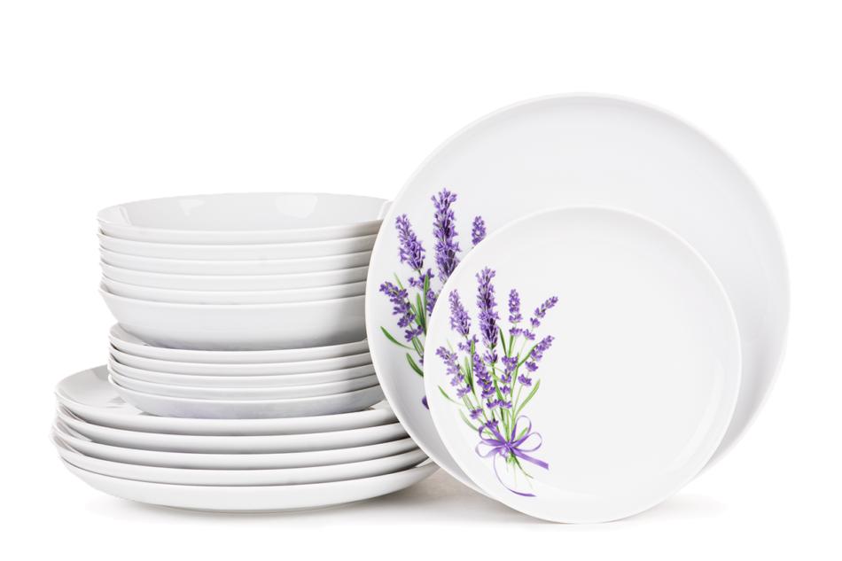 NORA LAWENDA Serwis obiadowy polska porcelana 6 os. Biały / wzór lawendy Lawenda - zdjęcie 0