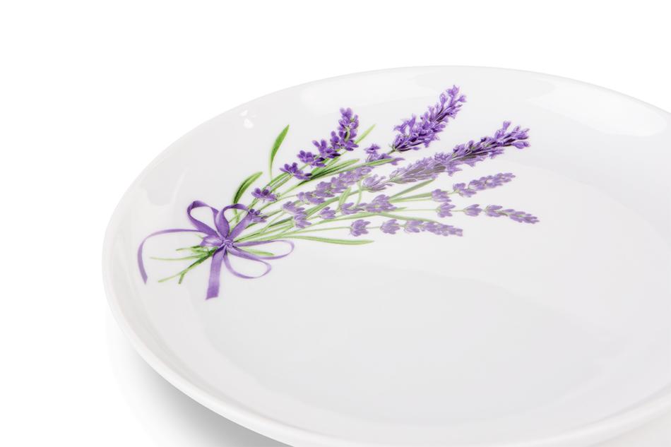 NORA LAWENDA Serwis obiadowy polska porcelana 6 os. Biały / wzór lawendy Lawenda - zdjęcie 5