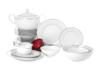 AMELIA LUIZA Zestaw obiadowy porcelana 25 elementów biały / srebrny wzór dla 6 os. Luiza - zdjęcie 1