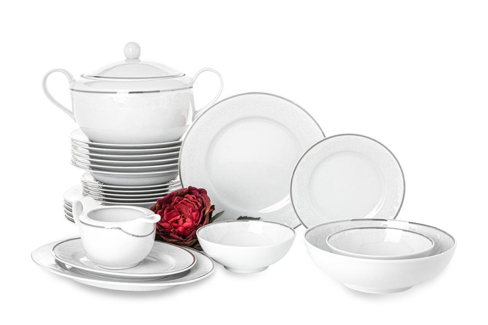 AMELIA LUIZA Zestaw obiadowy porcelana 25 elementów biały / srebrny wzór dla 6 os. Luiza - zdjęcie 0