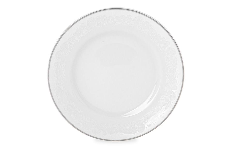 AMELIA LUIZA Zestaw obiadowy porcelana 25 elementów biały / srebrny wzór dla 6 os. Luiza - zdjęcie 3