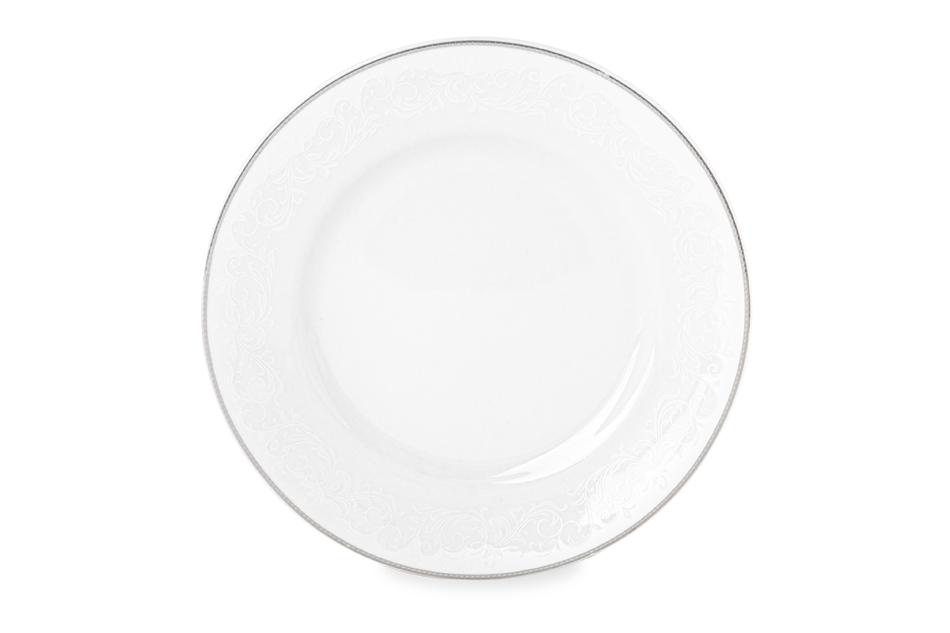 AMELIA LUIZA Zestaw obiadowy porcelana 25 elementów biały / srebrny wzór dla 6 os. Luiza - zdjęcie 2
