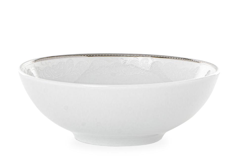 AMELIA LUIZA Zestaw obiadowy porcelana 25 elementów biały / srebrny wzór dla 6 os. Luiza - zdjęcie 9