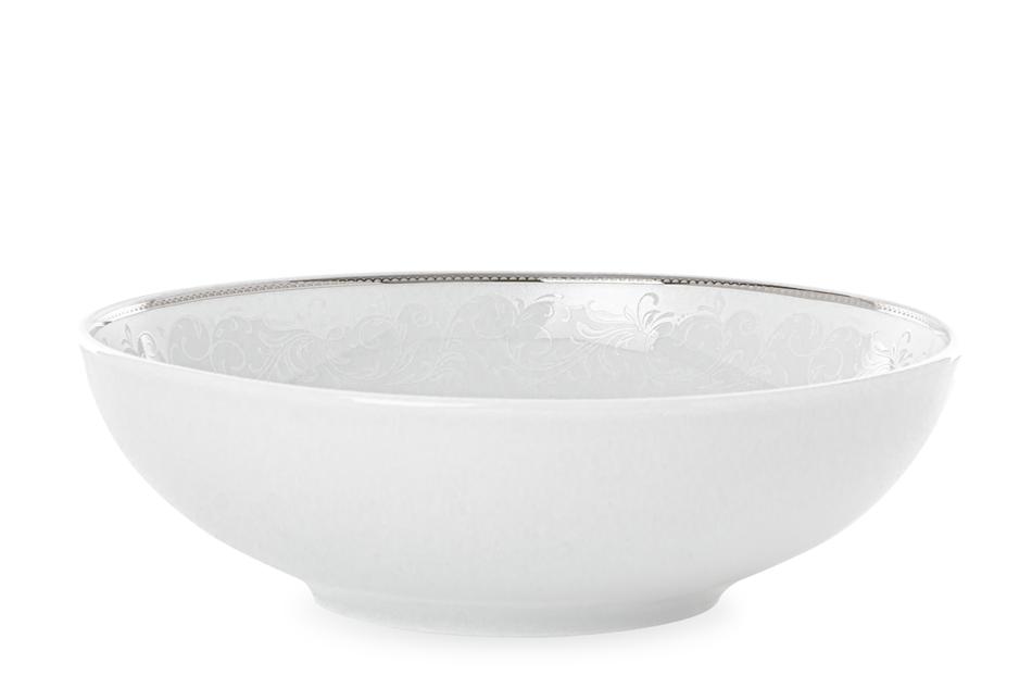 AMELIA LUIZA Zestaw obiadowy porcelana 25 elementów biały / srebrny wzór dla 6 os. Luiza - zdjęcie 8