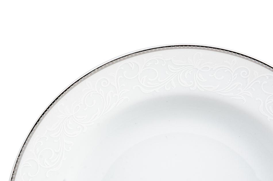 AMELIA LUIZA Zestaw obiadowy porcelana 25 elementów biały / srebrny wzór dla 6 os. Luiza - zdjęcie 12