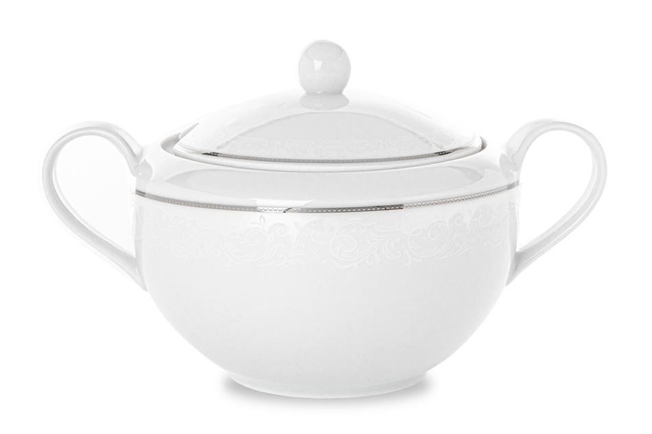 AMELIA LUIZA Zestaw obiadowy porcelana 25 elementów biały / srebrny wzór dla 6 os. Luiza - zdjęcie 7