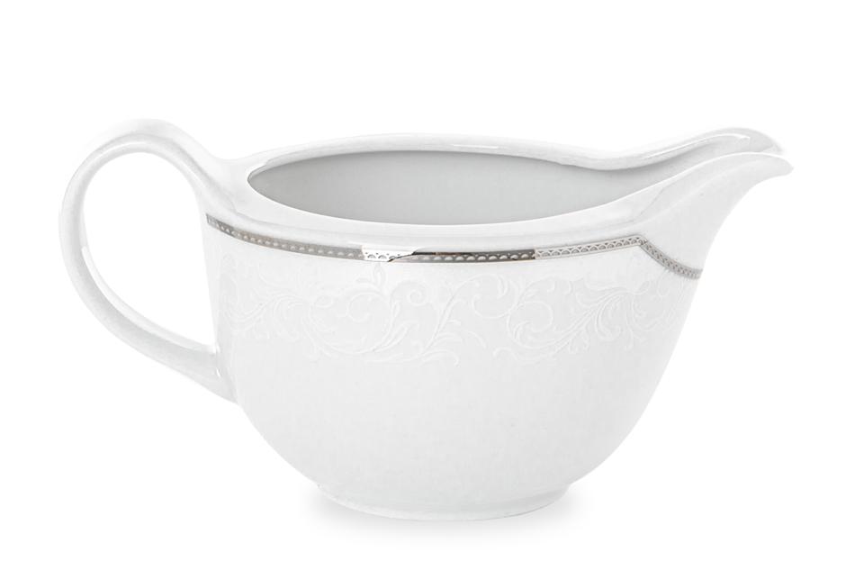 AMELIA LUIZA Zestaw obiadowy porcelana 25 elementów biały / srebrny wzór dla 6 os. Luiza - zdjęcie 6