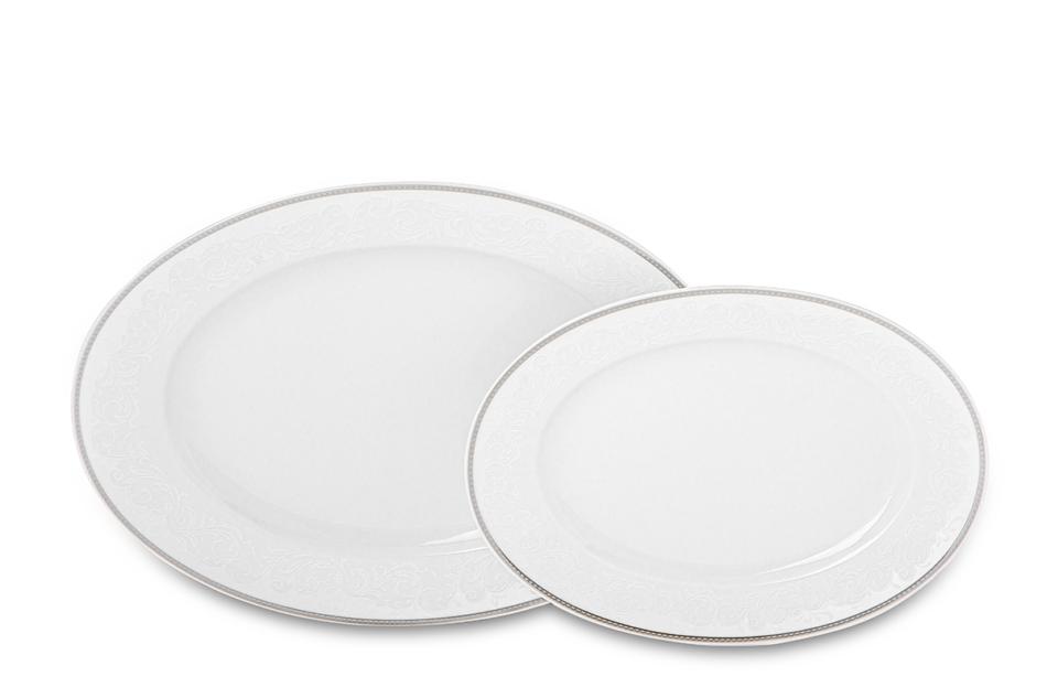 AMELIA LUIZA Zestaw obiadowy porcelana 25 elementów biały / srebrny wzór dla 6 os. Luiza - zdjęcie 5